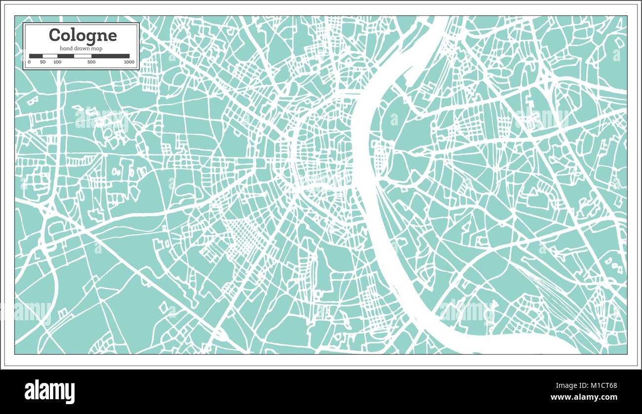 Cologne Germany City Map in Retro Style. Outline Map. Vector ...