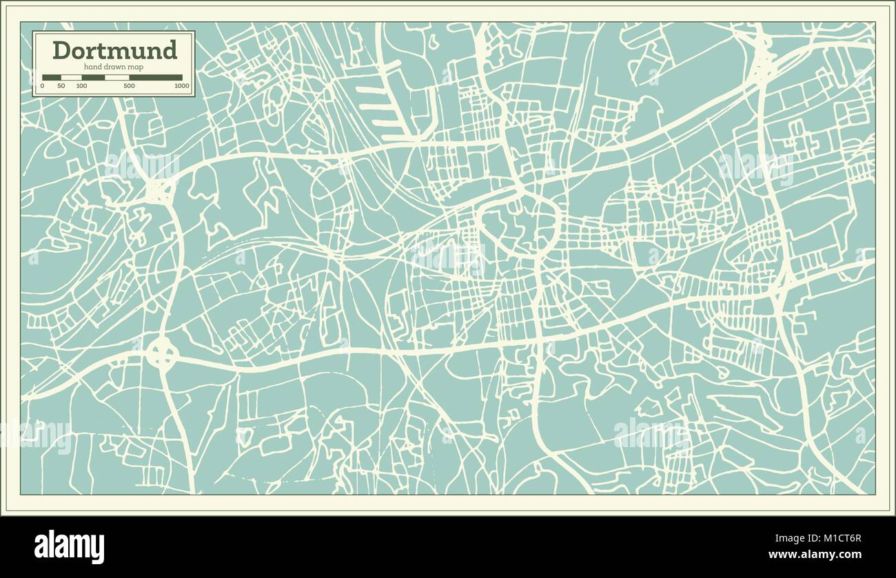 dortmund germany city map in retro style outline map vector illustration stock