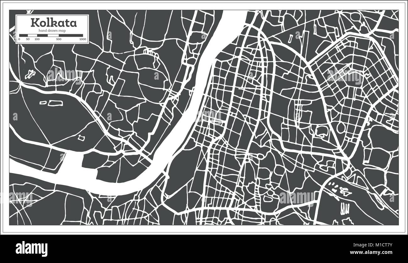 Kolkata India City Map in Retro Style. Outline Map. Vector Illustration. Stock Vector