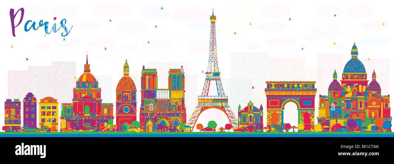Paris France City Skyline With Color Buildings Vector Illustration Business Travel And Tourism Concept Historic Architecture Cityscape