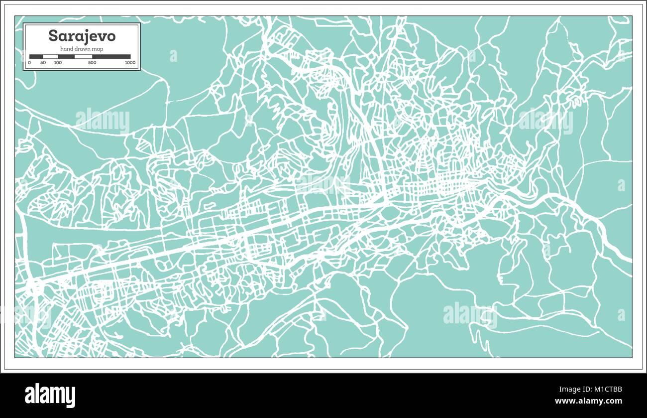 Sarajevo Bosnia and Herzegovina City Map in Retro Style. Outline Map. Vector Illustration. - Stock Vector