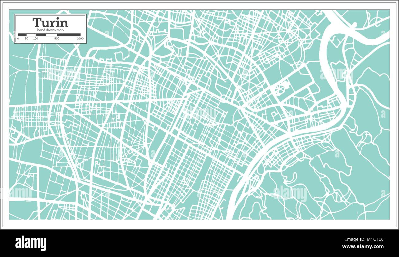 Turin Italy City Map In Retro Style Outline Map Vector Stock