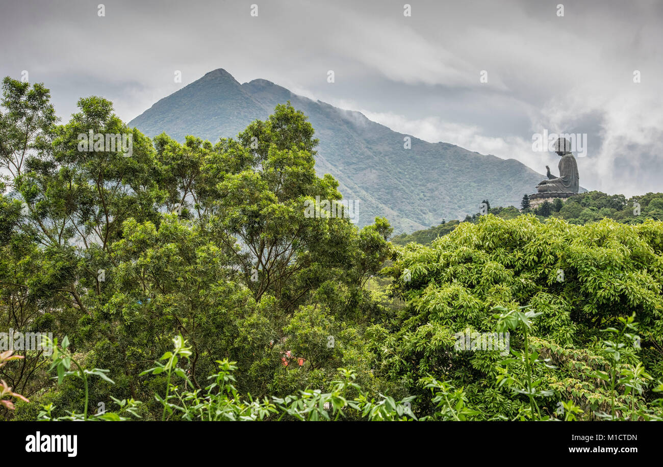 Hong Kong Buddha in mountains of Lan tau Island. - Stock Image
