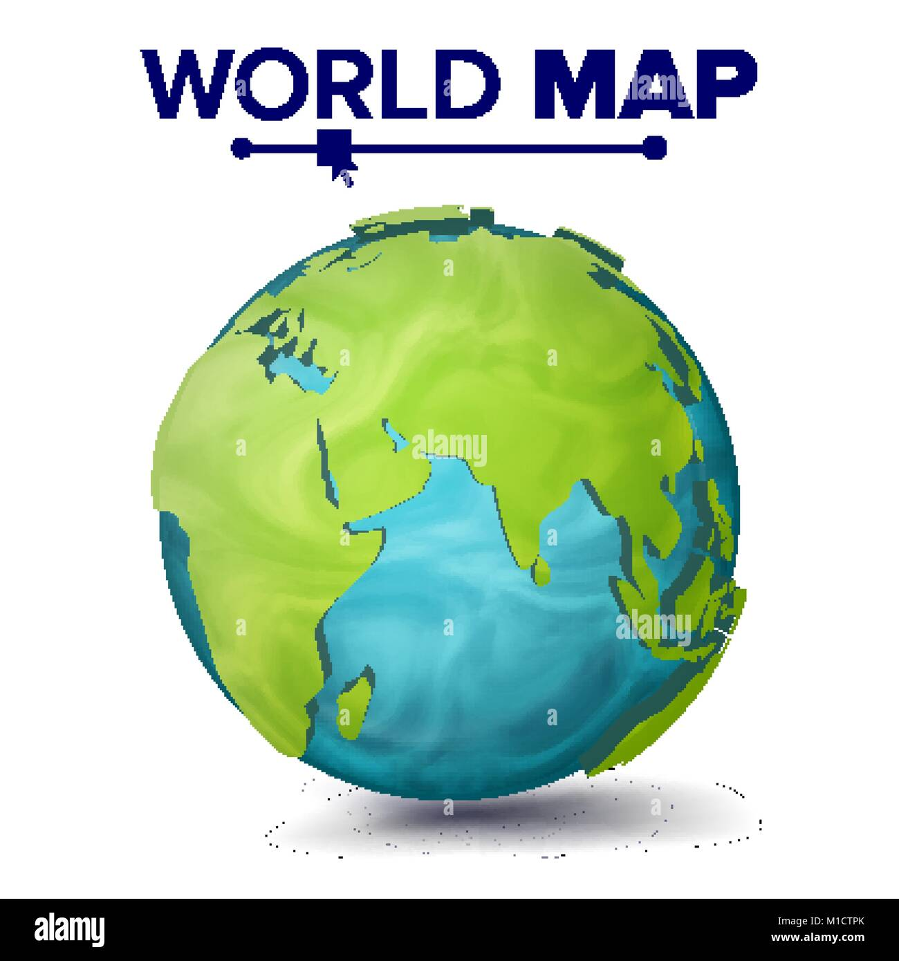World Map Vector. 3d Planet Sphere. Earth With Continents. Eurasia, Australia, Africa. Isolated Illustration - Stock Image