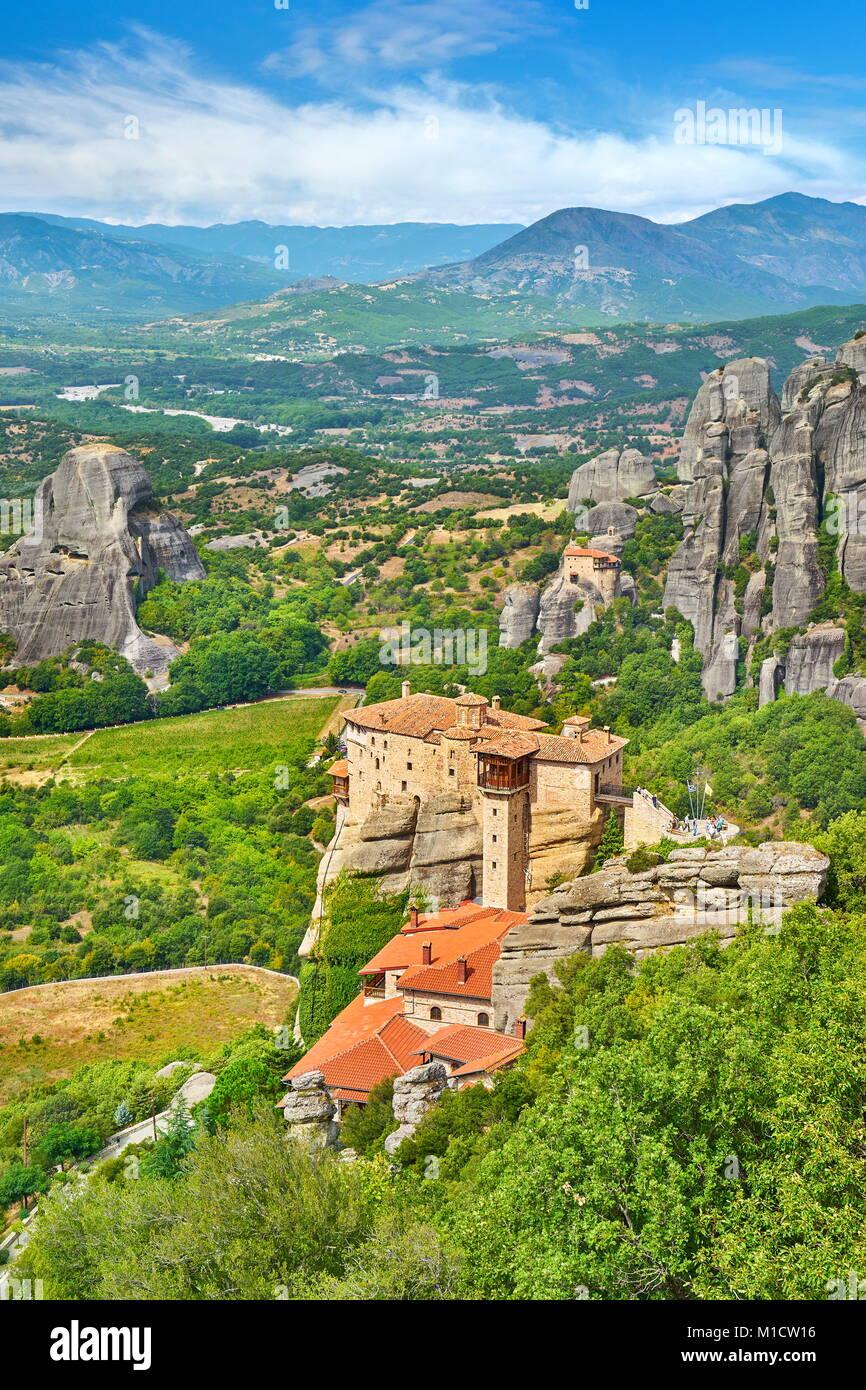 Roussanou Monastery at Meteora, Greece - Stock Image