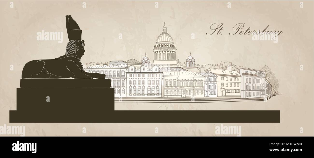 St. Petersburg city, Russia. Saint Isaac's cathedral skyline with Egyptian Sphinx monument landmark silhouette, - Stock Vector