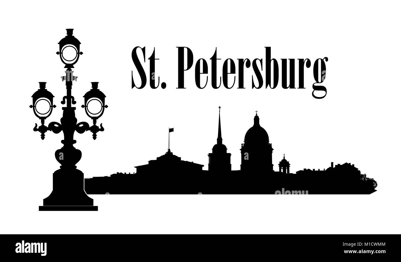 Saint-Petersburg city, Russia. St. Isaac's cathedral skyline with Admiralty building, bridge, Neva river view. - Stock Vector