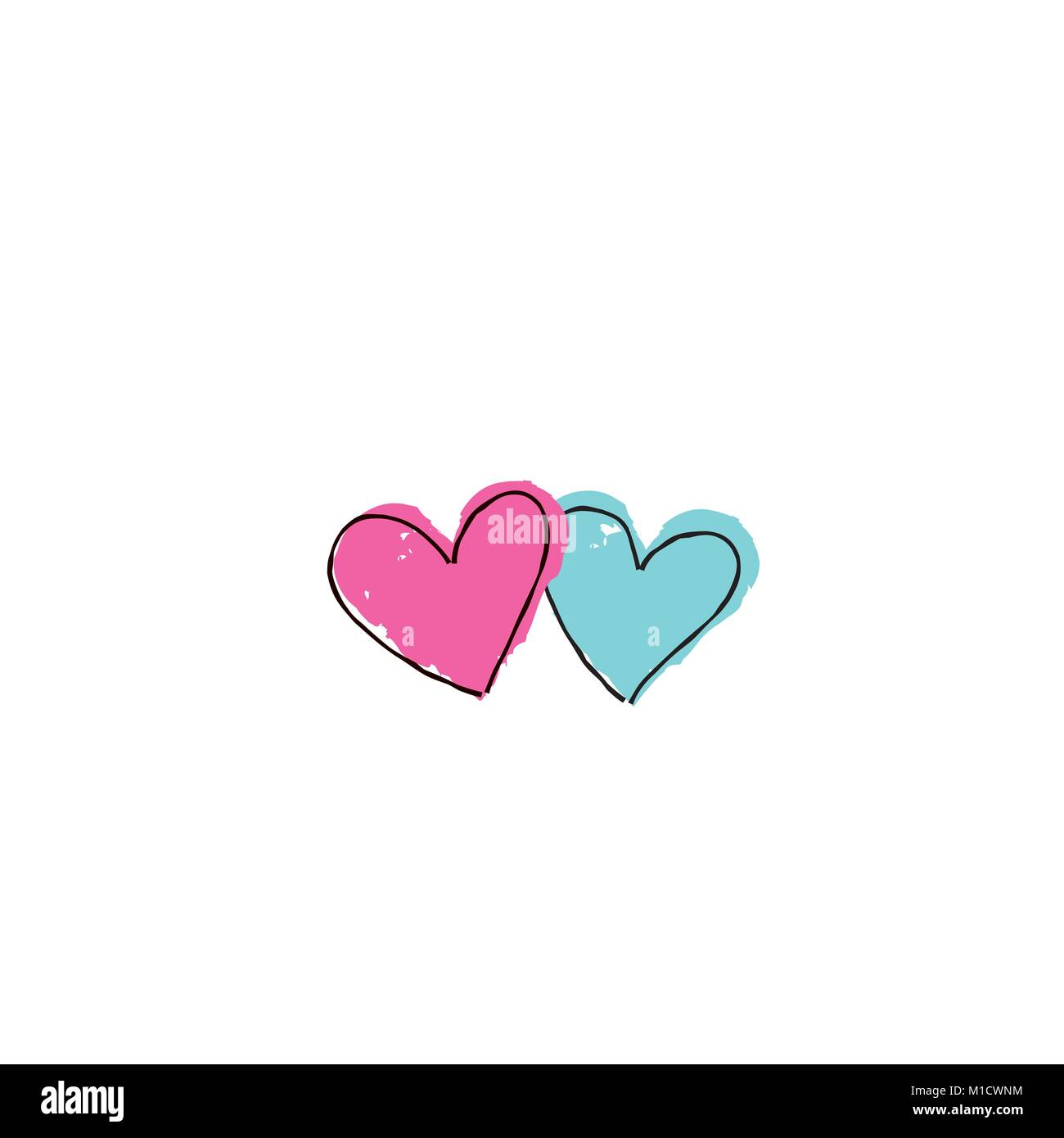 Two hearts in love. Love sign. Valentine's day greeting card in 1990s style with love hearts Stock Vector