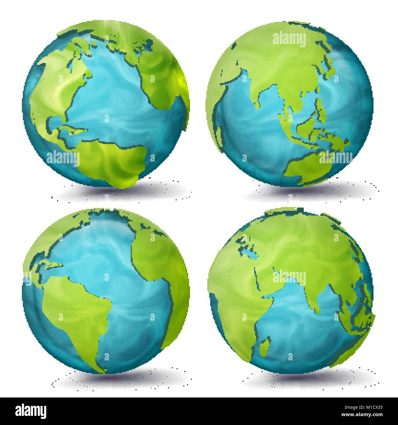 World Map Vector. 3d Planet Set. Earth With Continents. Eurasia, Australia, Oceania, North America, South America, - Stock Image
