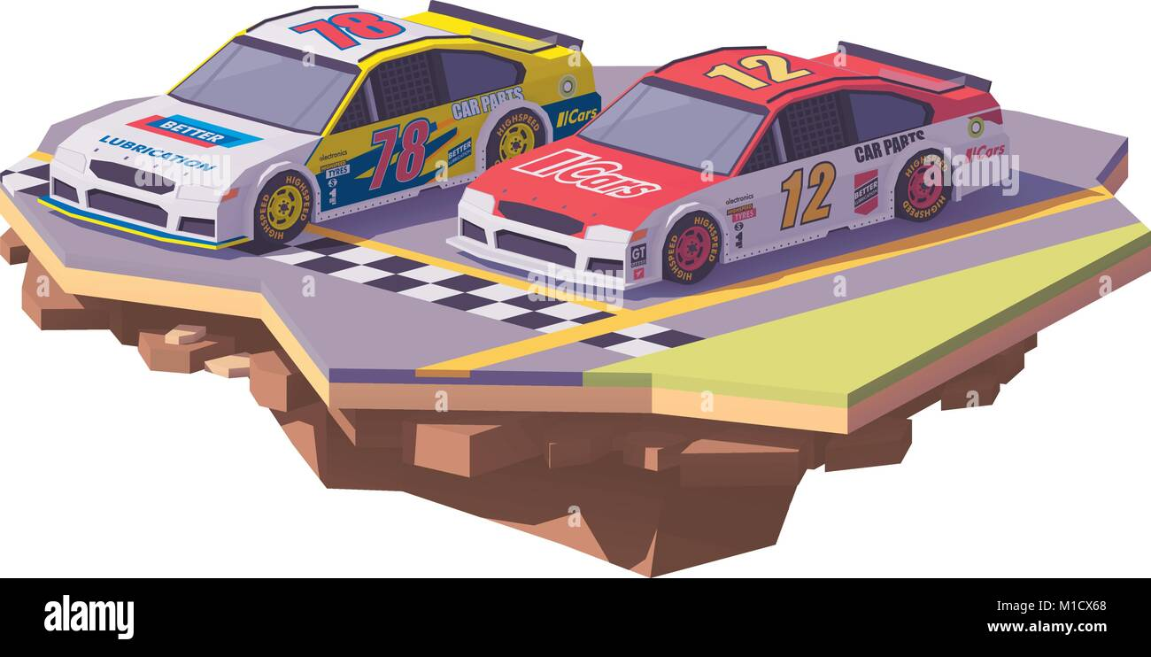 Vector low poly racing cars Stock Vector Art & Illustration
