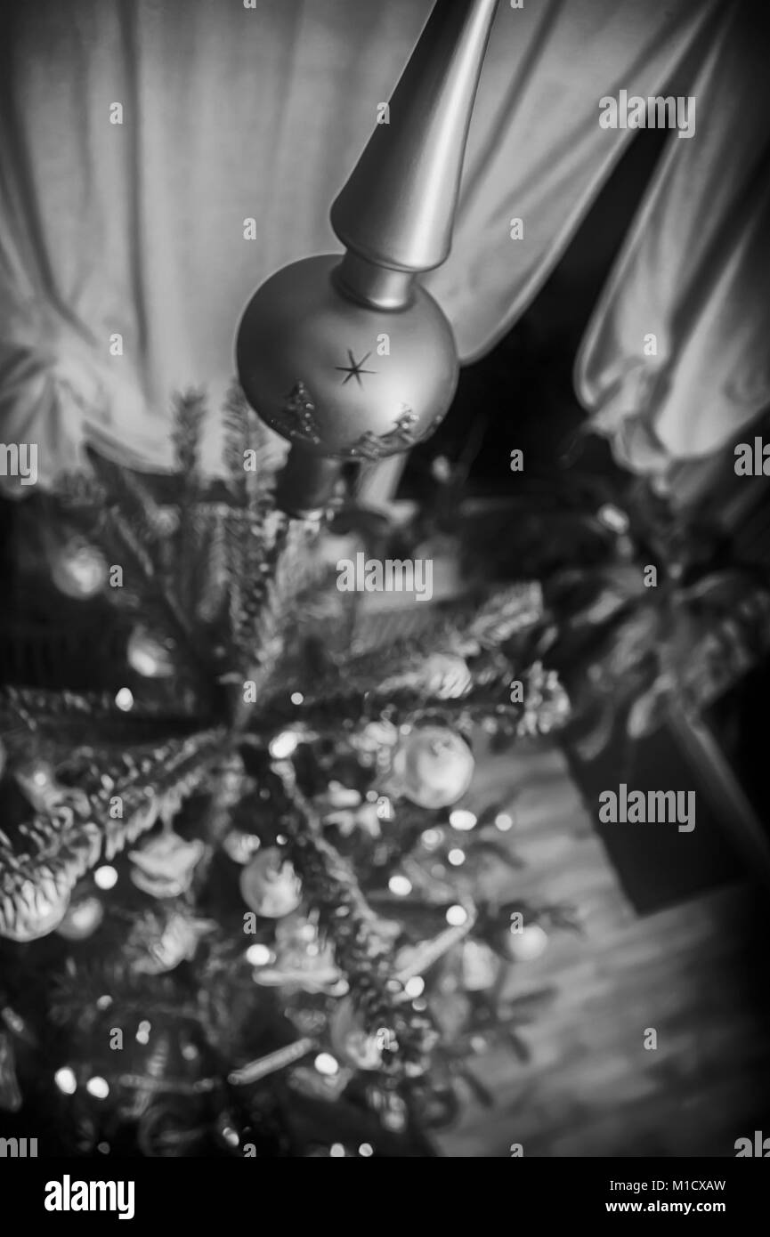 Christmas tree view from above in the old monochromatic look - Stock Image