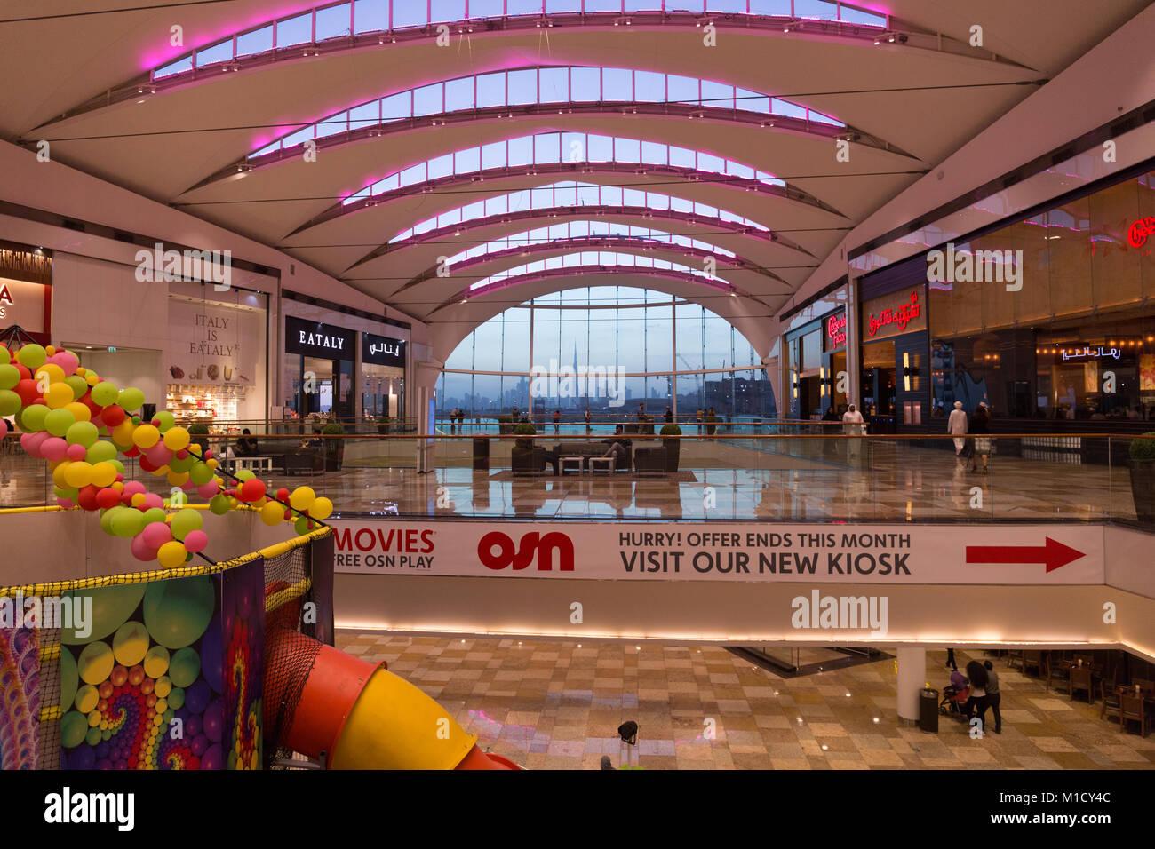 Stunning Dubai views from inside Dubai Festival City Mall Stock