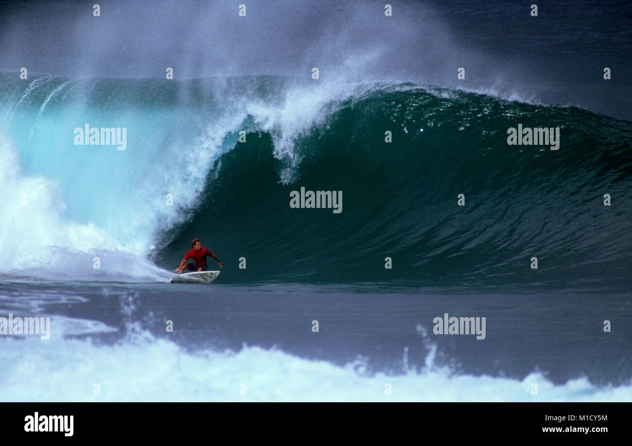 Pipeline in all her majesty. A surfer in the Pipeline Masters races a   triple overhead wave - Stock Image