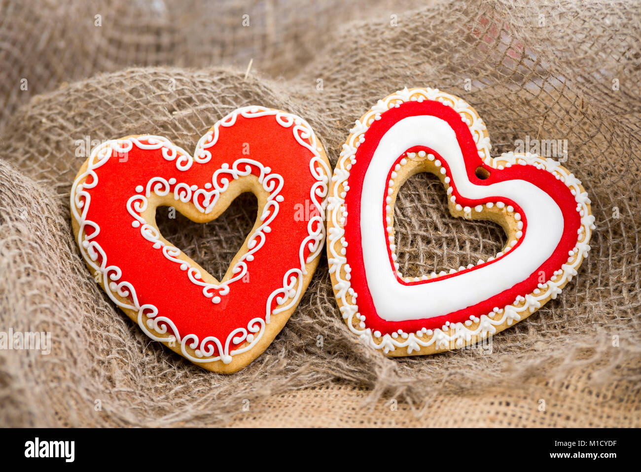 Gingerbread Heart Cookies On A Rustic Wooden Background Valentine S