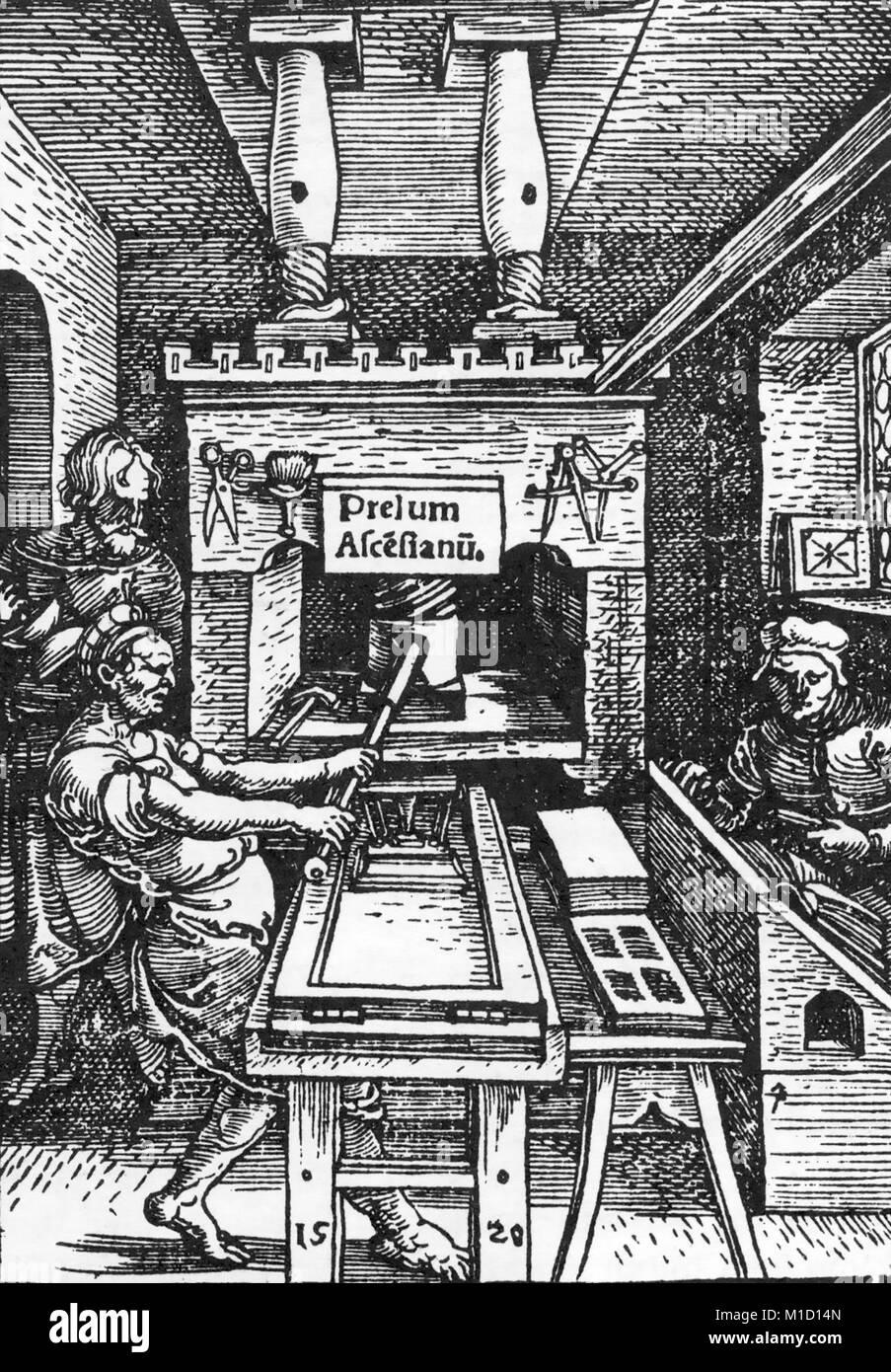 JODOCUS BADIUS (1462-1535) Flemish printer's workshop in 1520 - Stock Image