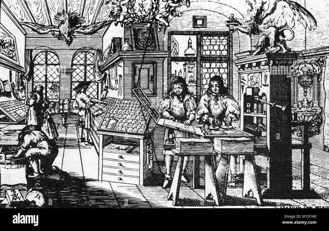 WOODCUT PRINTING A Dutch printing workshop in the mid 17th century engraved by Abraham von Werdt (1594-1671) - Stock Image