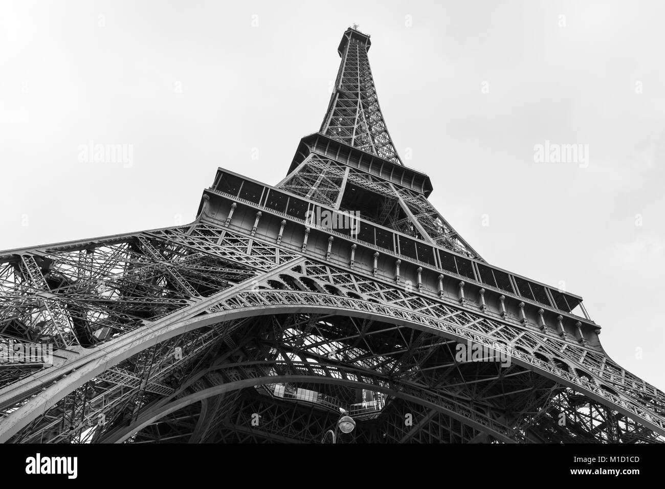The Eiffel Tower from below, looking up, Paris, France - Stock Image