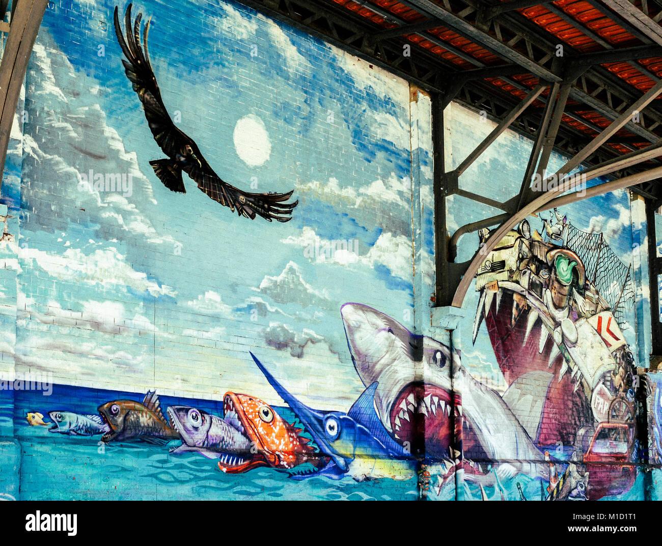 Street art in Rio de Janeiro, Brazil's Porto Maravilha District. Converted warehouses into art exhibits - food chain Stock Photo