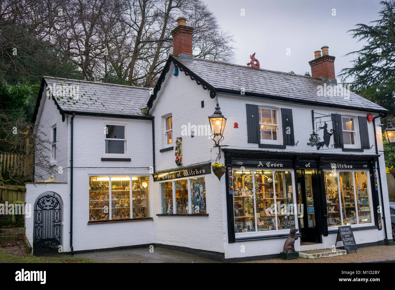 Coven of Witches' new age shop in Burley on a rainy day in the New