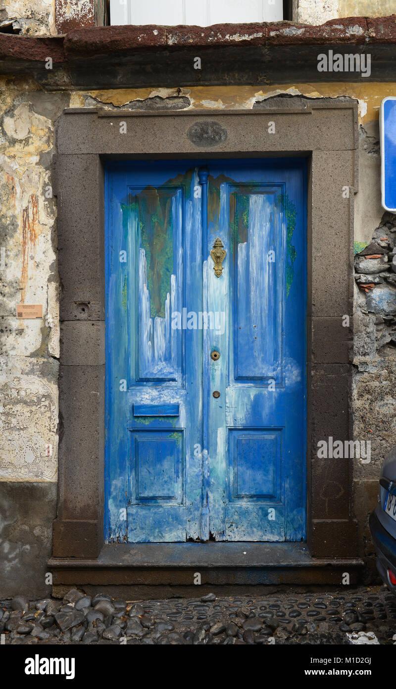 Painted door, Old Town, Funchal, Madeira, Portugal, Bemalte Tuer, Altstadt - Stock Image
