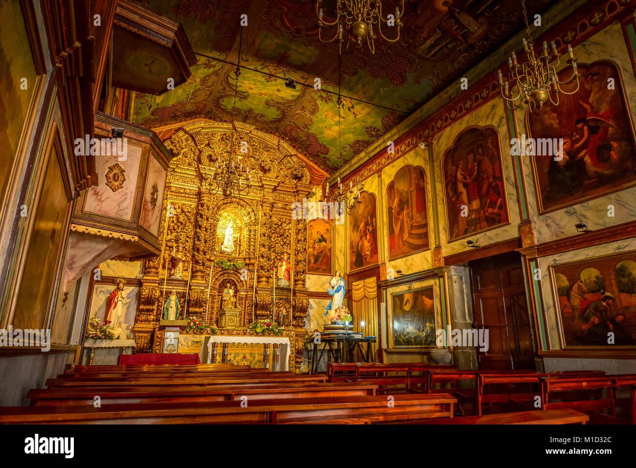 'Igreja Sao Sebastiao Church', Camara de Lobos, Madeira, Portugal, Kirche ´Igreja Sao Sebastiao´,  Camara de Lobos Stock Photo
