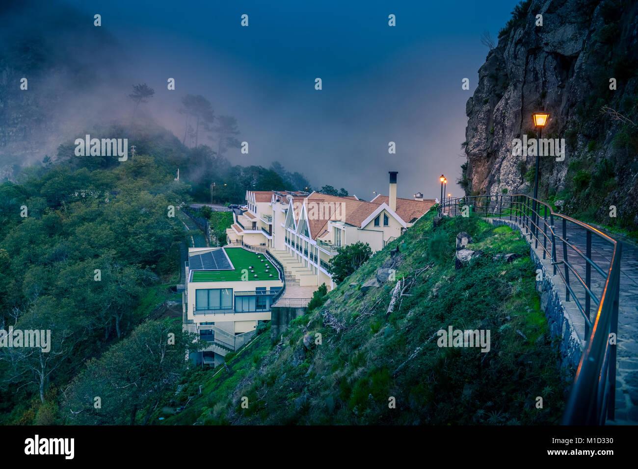 Hotel, view point 'Eira Do Serrado', Central Mountains, Madeira, Portugal, Aussichtspunkt ´Eira do - Stock Image
