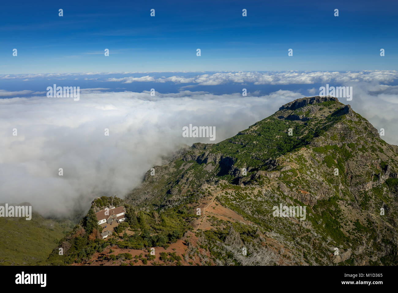 Mountain landscape of the Pico Ruivo, Central Mountains, Madeira, Portugal, Berglandschaft am Pico Ruivo, Zentralgebirge - Stock Image
