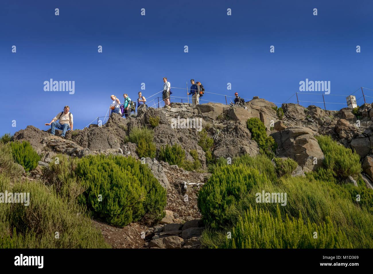 Summit of Pico Ruivo, Central Mountains, Madeira, Portugal, Gipfel des Pico Ruivo, Zentralgebirge - Stock Image