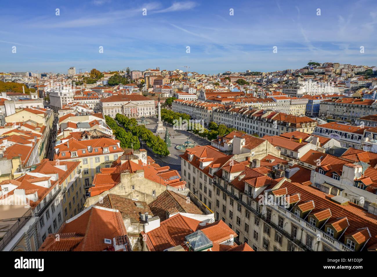 Overview, Rossio Square, Old Town, Lisbon, Portugal, Uebersicht, Rossio-Platz, Altstadt, Lissabon - Stock Image