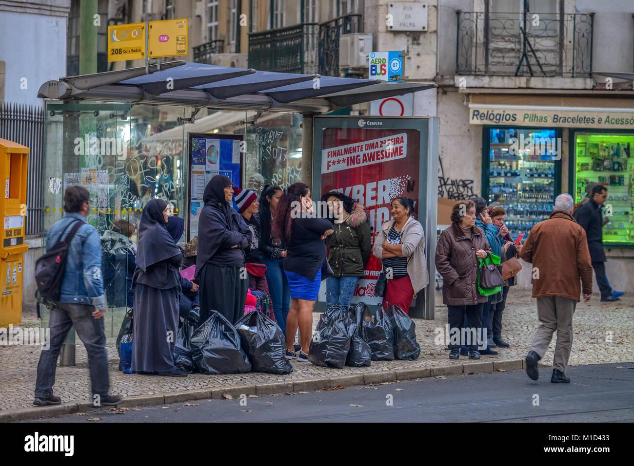 Bus stop, Lisbon, Portugal, Bushaltestelle, Lissabon Stock Photo