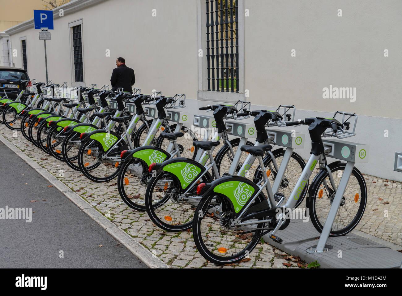 Rental bicycles' - 'Gira Bicicletas de Lisboa, Lisbon, Portugal, Leihfahrraeder ´Gira – Bicicletas - Stock Image