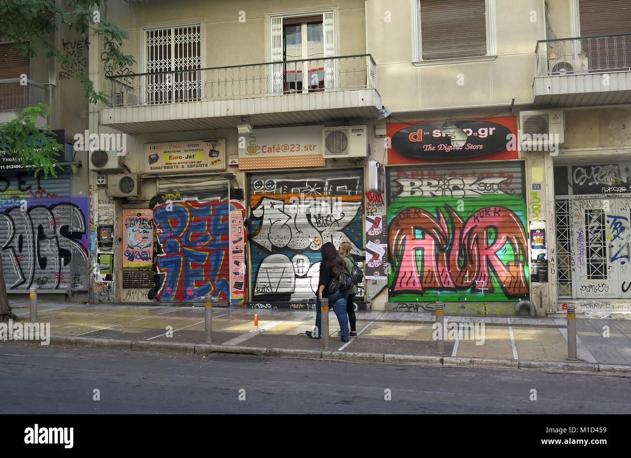 Geschlossene Laeden, Bezirk Exarchia, Athen, Griechenland Stock Photo