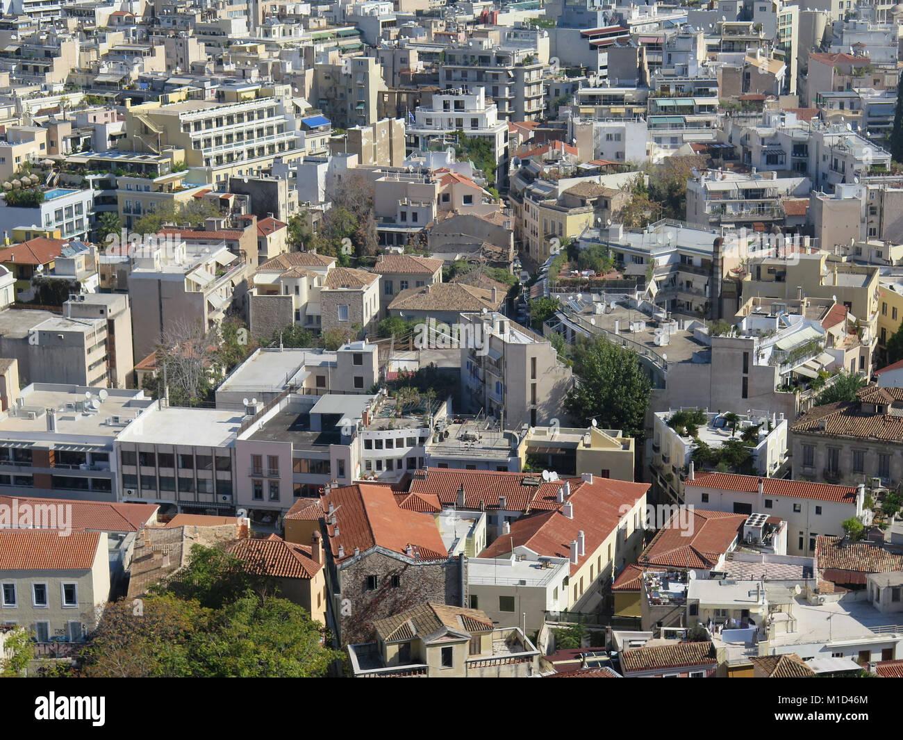 Blick von der Akropolis in die Altstadt Bezirk Plaka, Athen, Griechenland - Stock Image