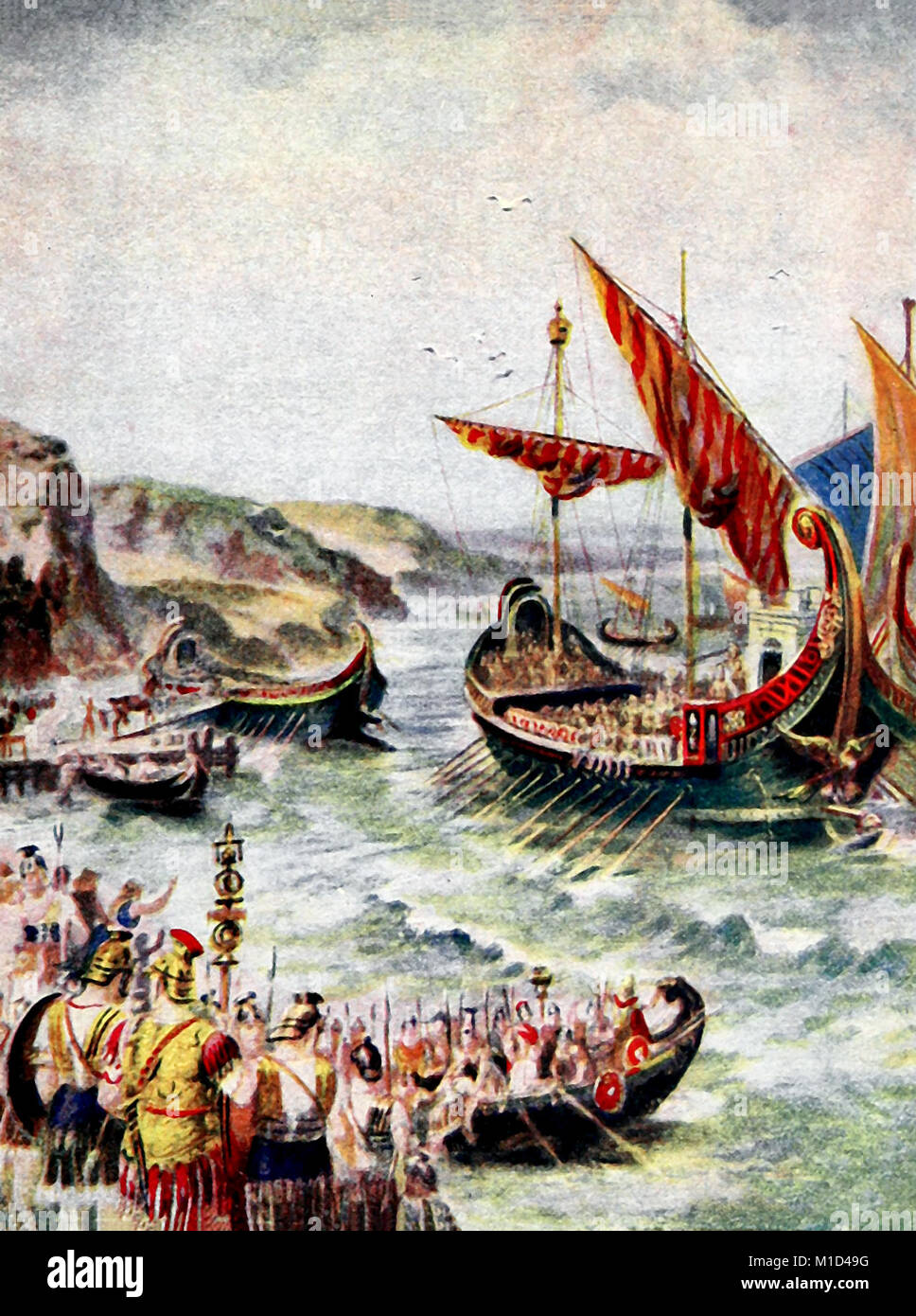 Departure of the Romans from Great Britain in 410 - Stock Image