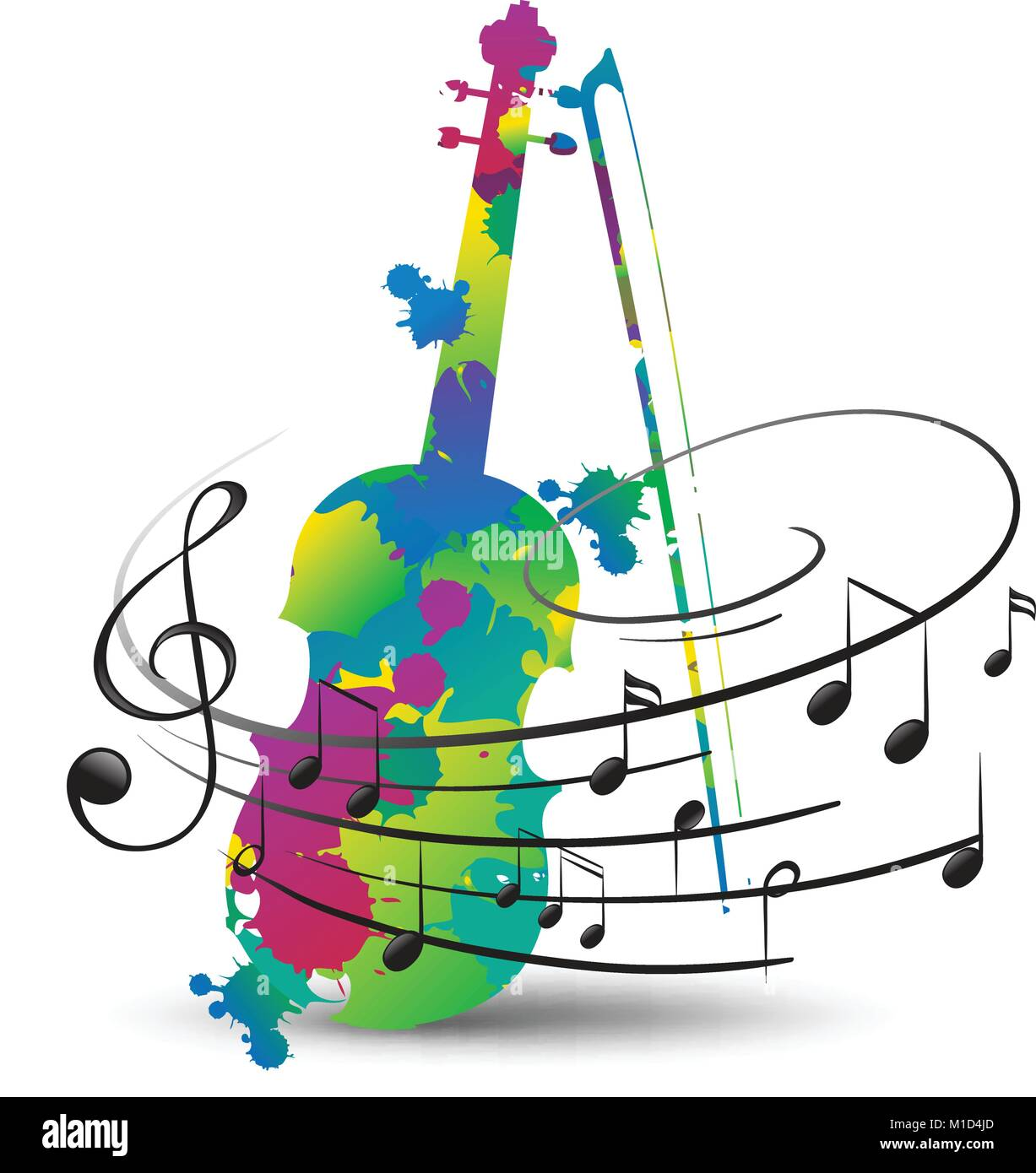 Colorful violin and music notes on white illustration for Note musicali dwg