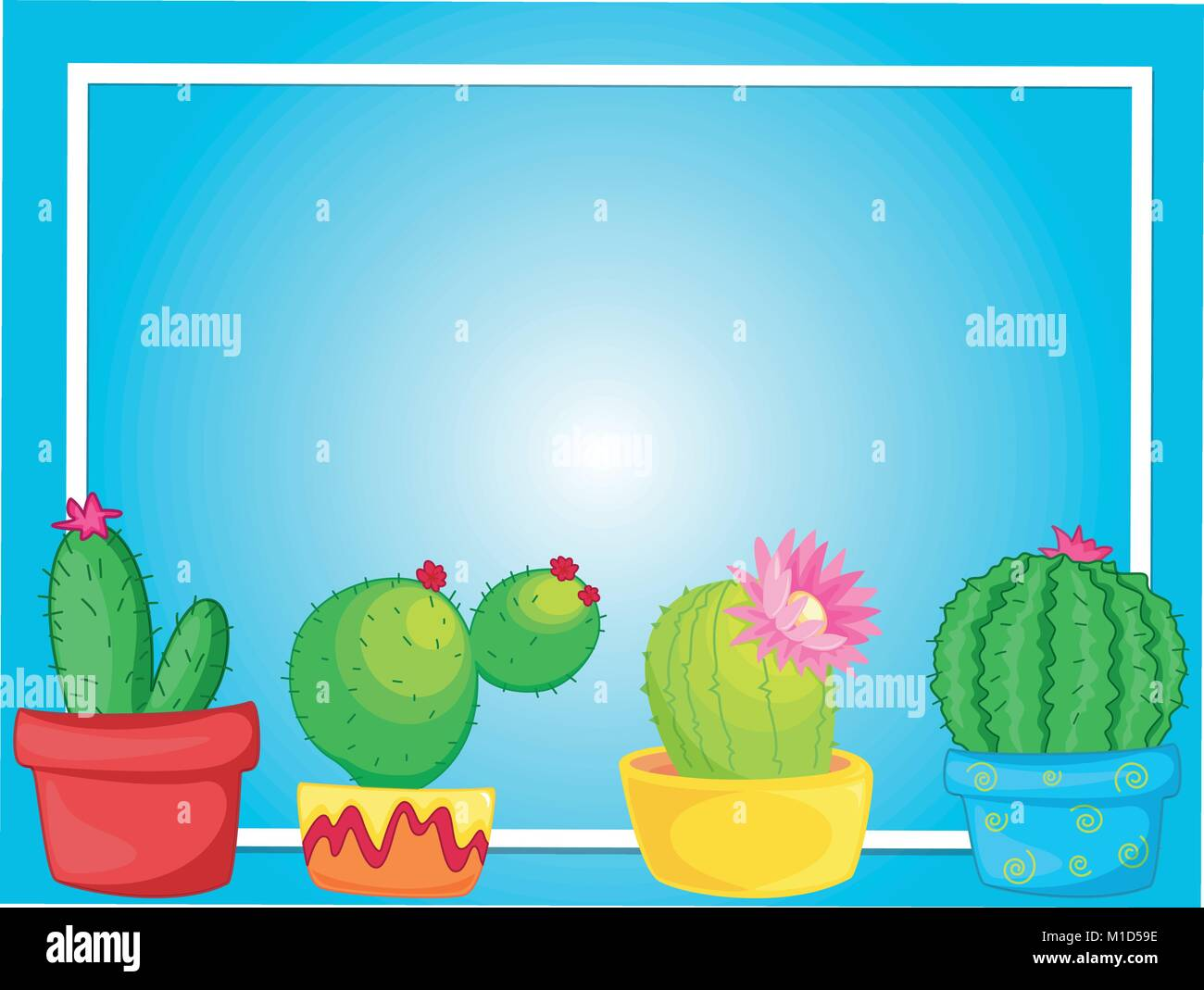 Border Template With Cactus In Pots Illustration