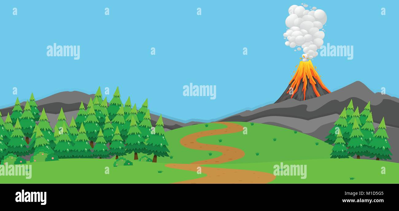 Background scene with volcano and forest illustration - Stock Vector