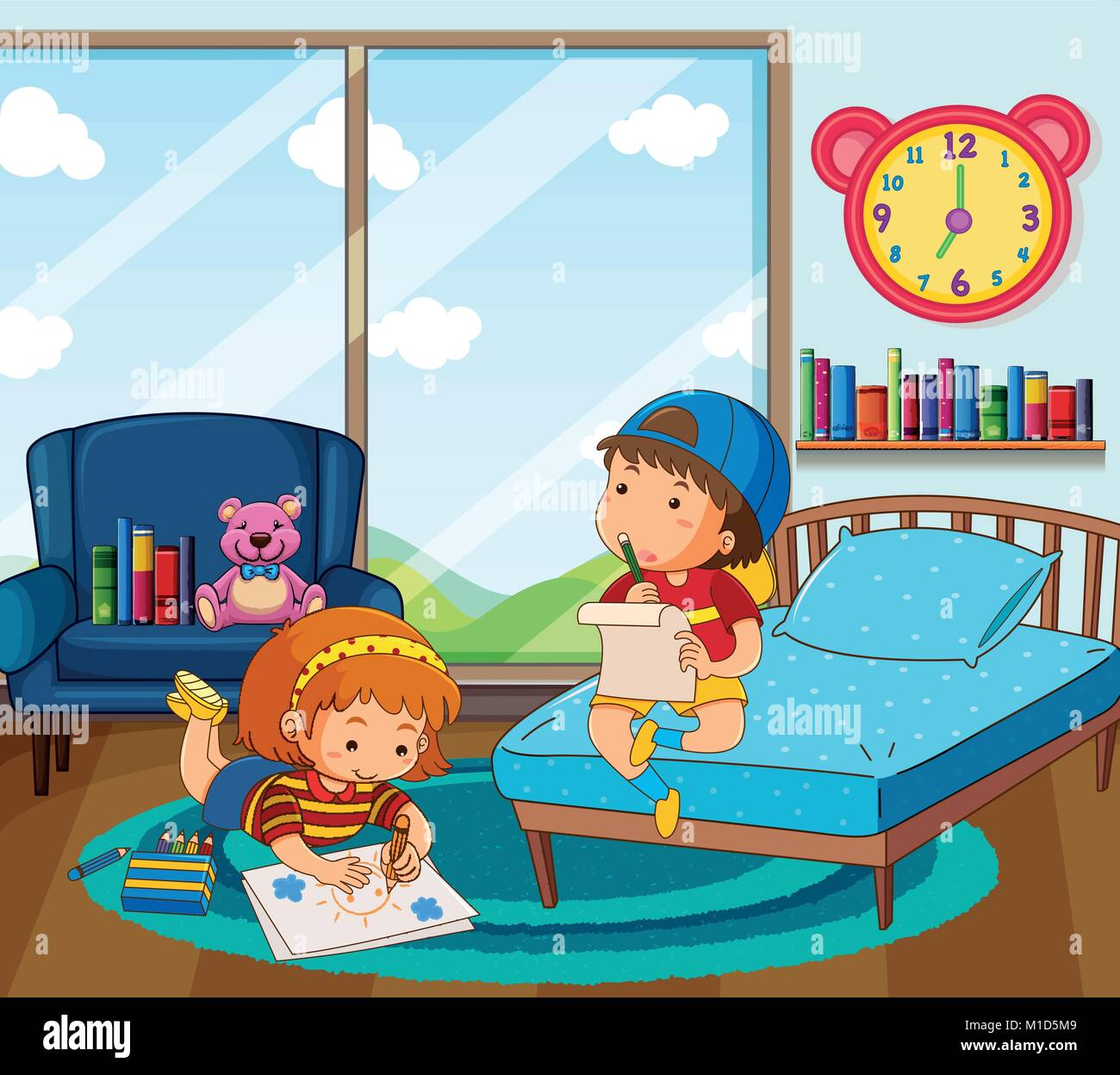 Boy And Girl Drawing Picture In Bedroom Illustration