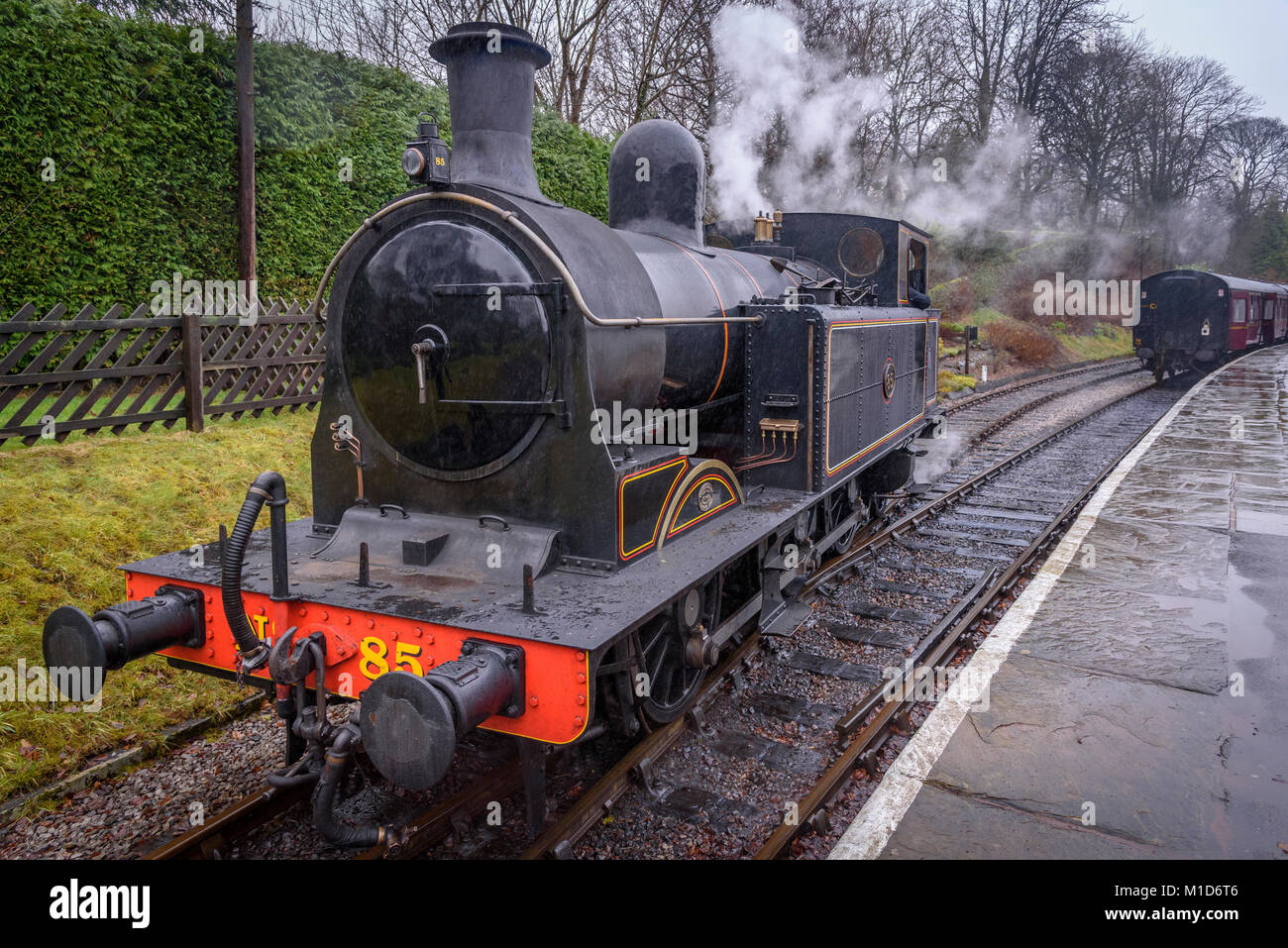 TAff VAlley Railway 02 0-6-2T NO. 85 tank engine on the Keighley and Worth Valley railway. - Stock Image