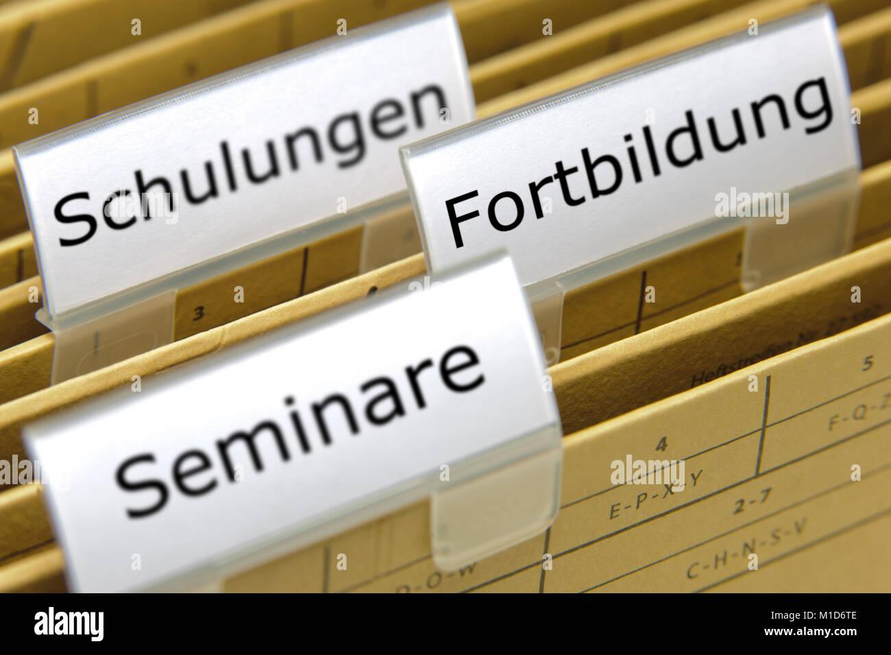 Aktenordner für Schulungen Fortbildung un Seminare - Stock Image
