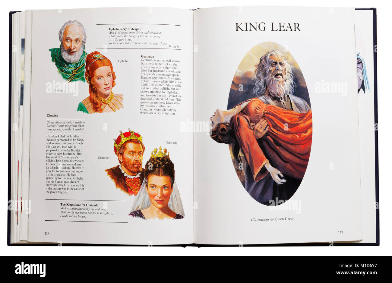 An illustrated book of Shakespeare's plays open at characters from Hamlet and King Lear - Stock Image