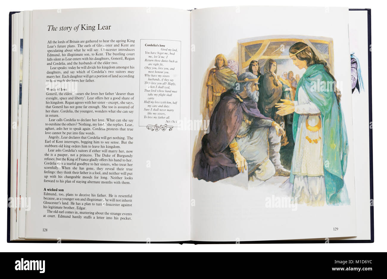 An illustrated book of Shakespeare's plays open at a plot summary of King Lear - Stock Image