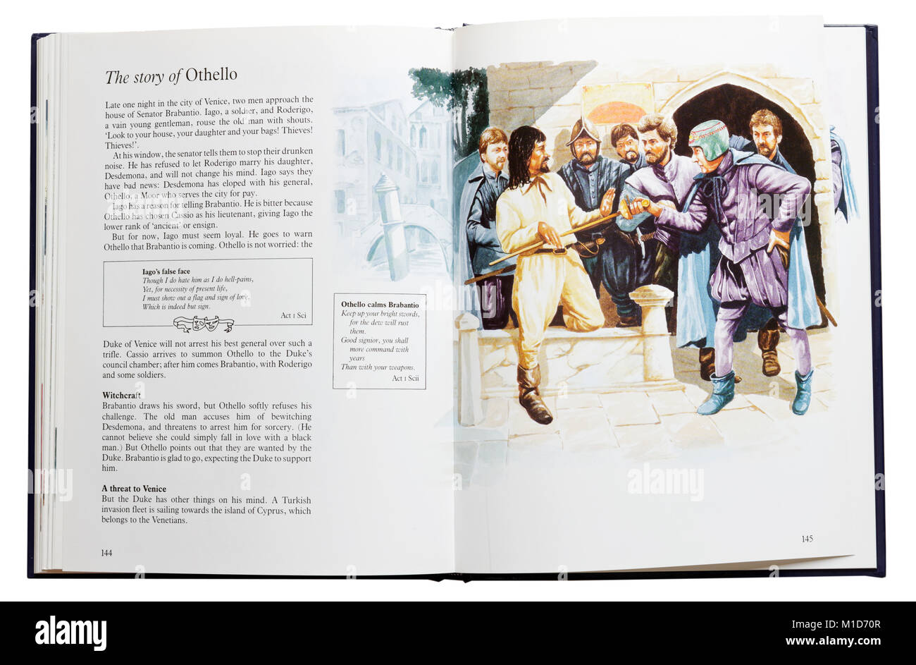 An illustrated book of Shakespeare's plays open at a plot summary of Othello - Stock Image