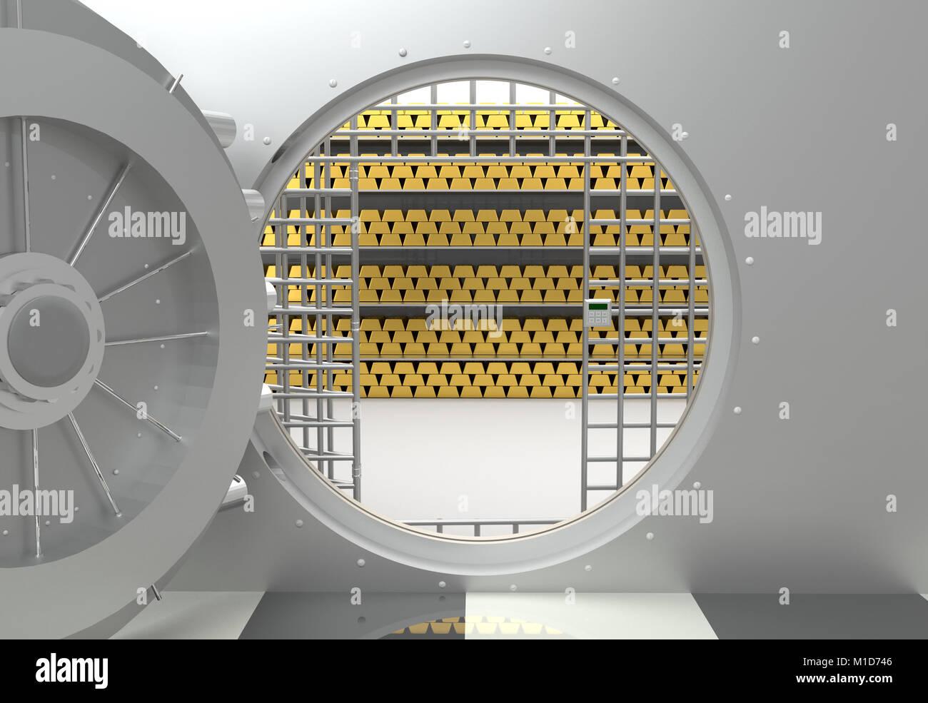 Bank vault door opened - Stock Image