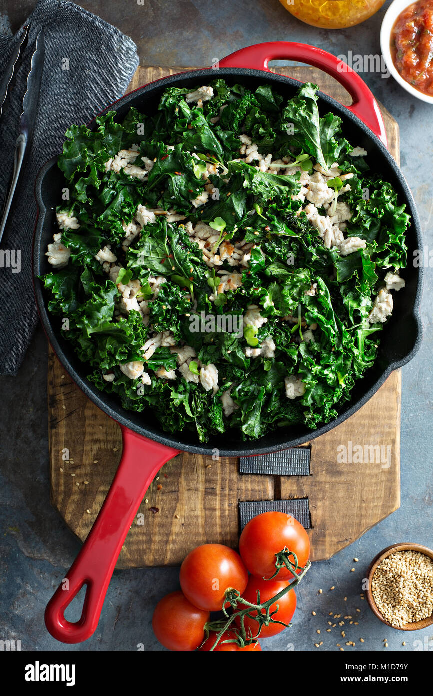 Sauteed kale with ground turkey - Stock Image