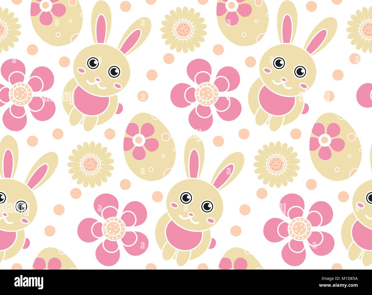 Cute Easter Seamless Pattern. Spring Repeating Textures