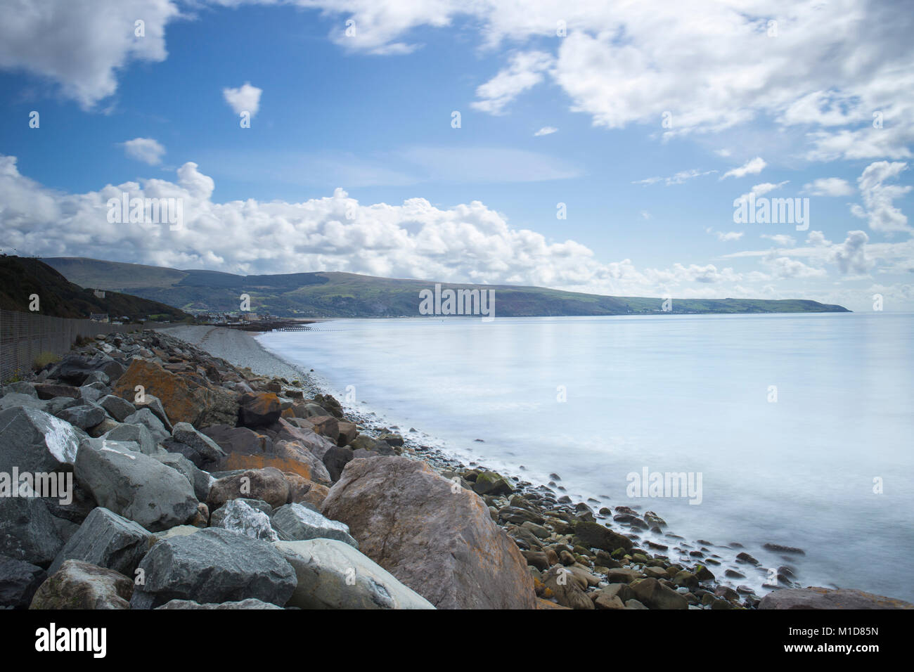 Cardigan Bay as seen from Llanaber with Barmouth in distance, Gwynedd North Wales UK - Stock Image