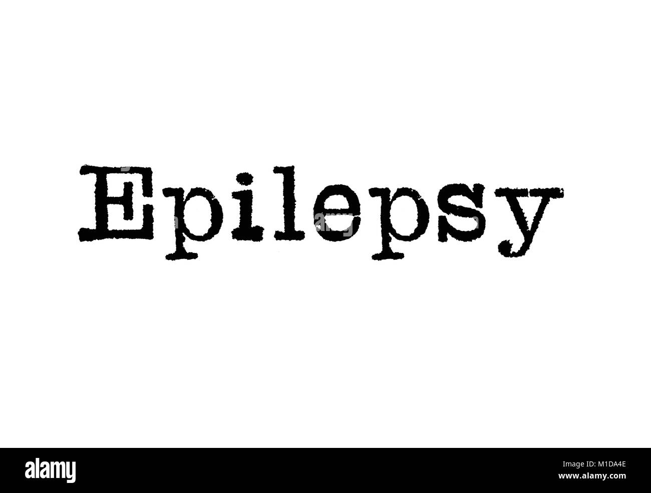 The word Epilepsy from a typewriter on a white background - Stock Image