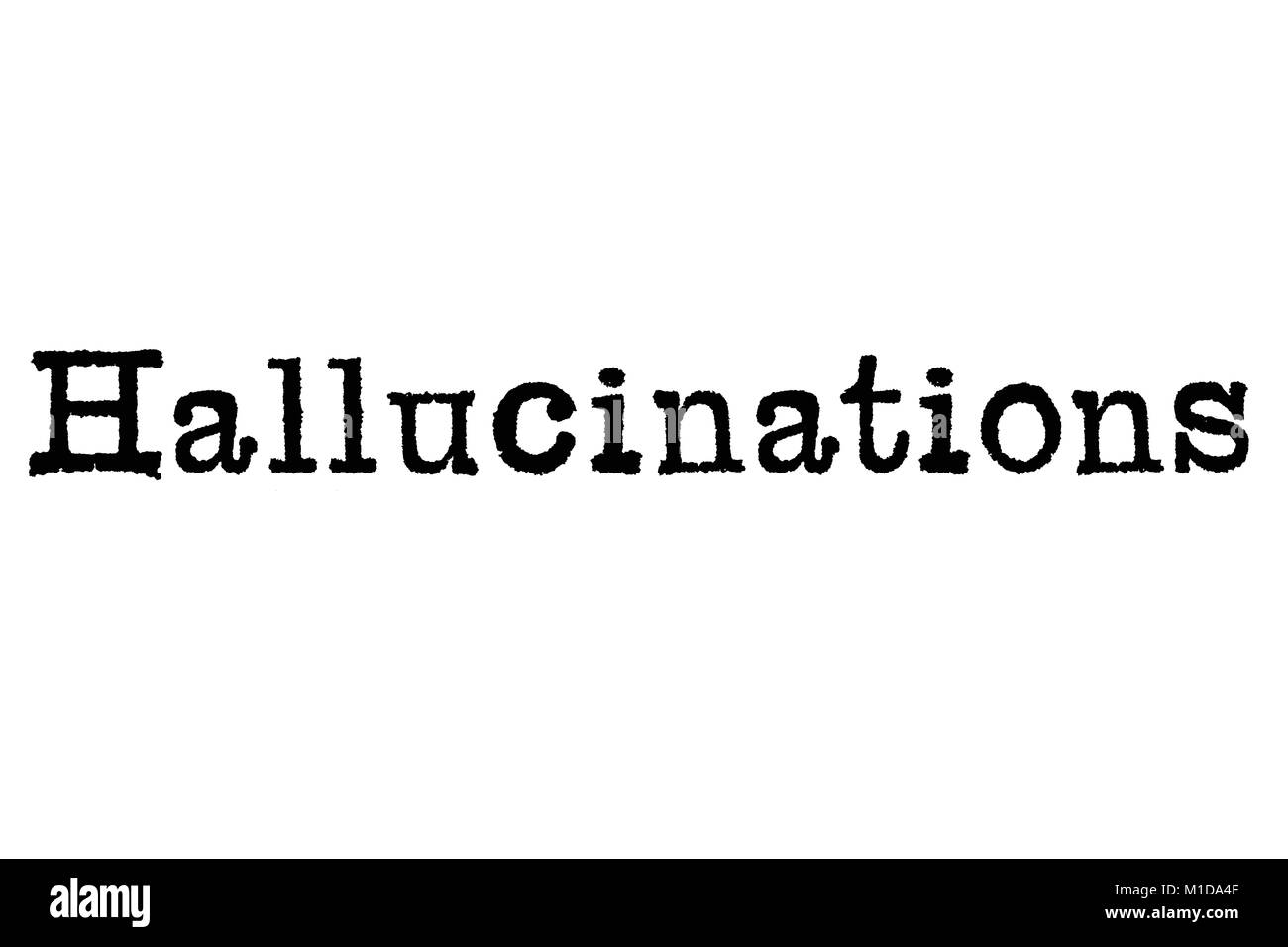 The word Hallucinations from a typewriter on a white background - Stock Image