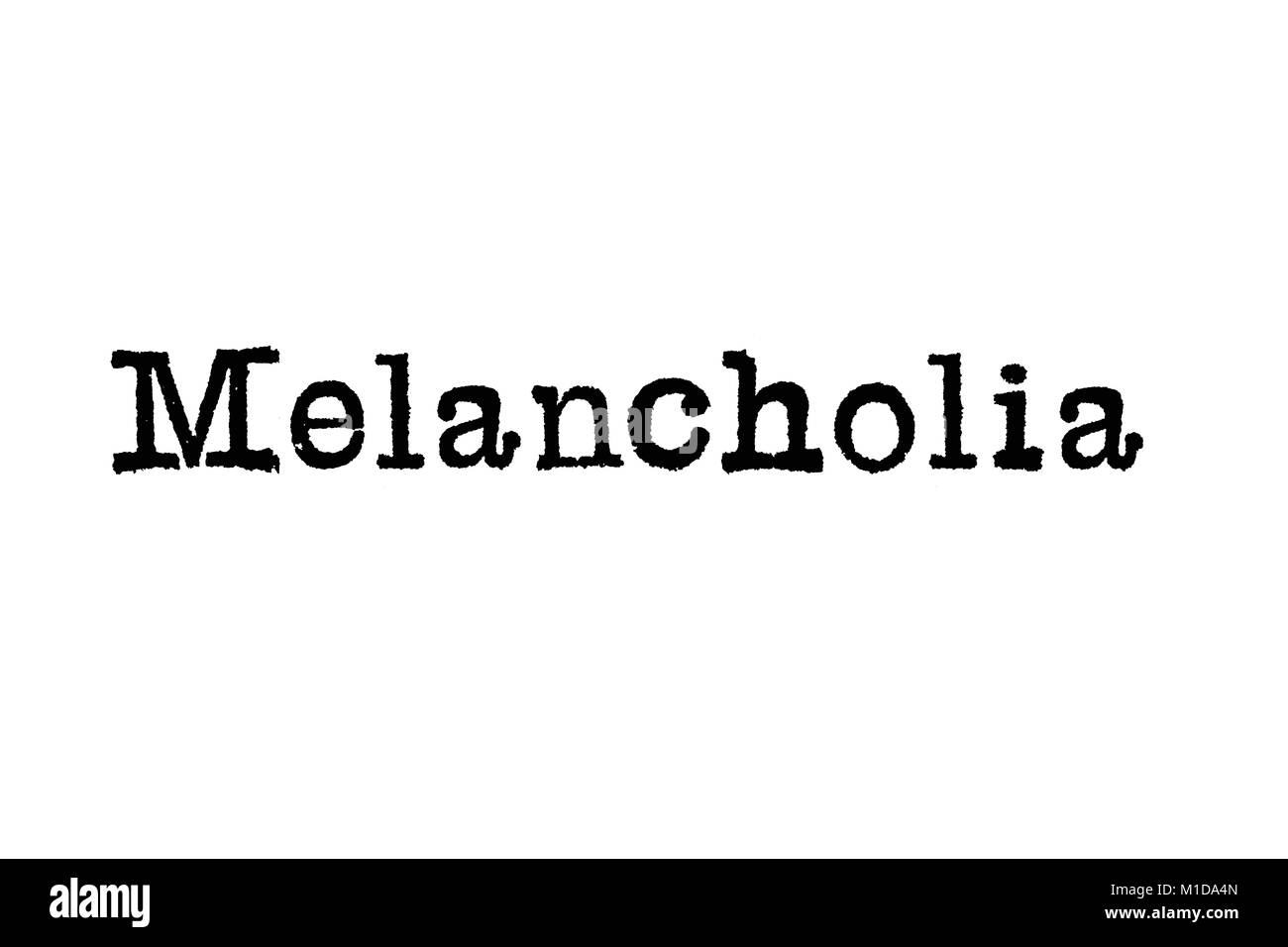 The word Melancholia from a typewriter on a white background - Stock Image
